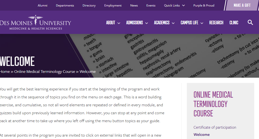 Screen capture of free Medical Terms course at Des Moines University website.