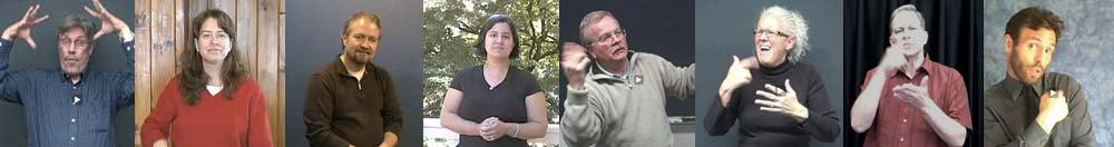 Variety of screen shots from vlogs by interpreters and deaf people