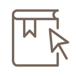 Icon of a book with a mouse pointer hovering over outlined in brown.