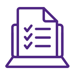 Icon of a paper with checklist in front of a laptop computer outlined in purple.