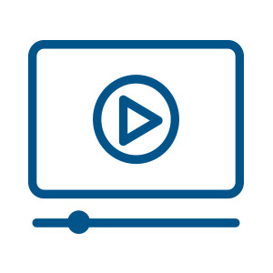 Icon of a video screen, play button, and control bar outlined in teal blue.